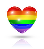 Gay pride love symbol, heart flag icon