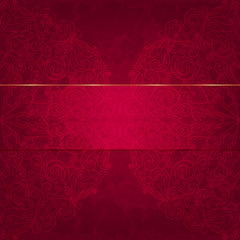 Card with a floral pattern. Luxurious deep red gift card