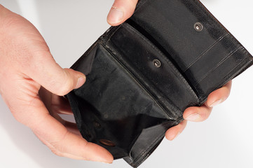 Hands holding an empty black wallet. Isolated on white