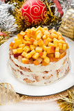 Cheesecake with peaches with christmas decorations