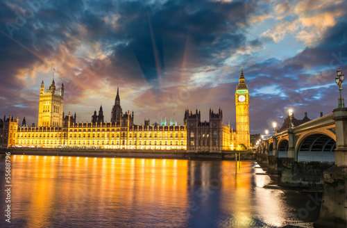 London.The Big Ben and Westminster Bridge at sunset, England