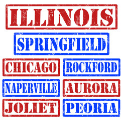 Illinois Cities stamps