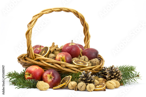 basket full of apples, nuts, cinnamon