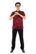 Full body Chinese cheongsam male respecting