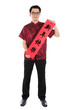 Chinese cheongsam male holding couplet