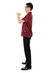Fullbody Chinese cheongsam male greeting