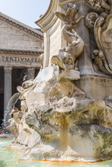 Pantheon and a near fountain in Rome, Italy
