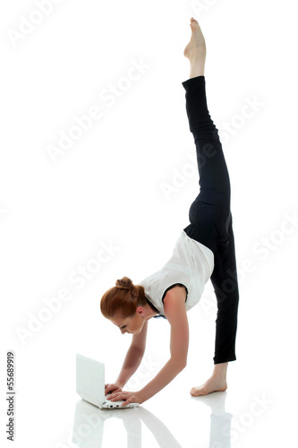 Busy entrepreneur doing yoga, isolated on white