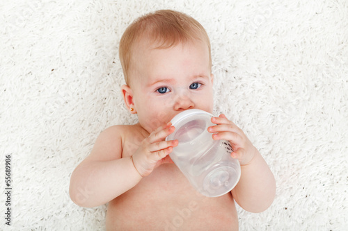 Baby girl drinking water