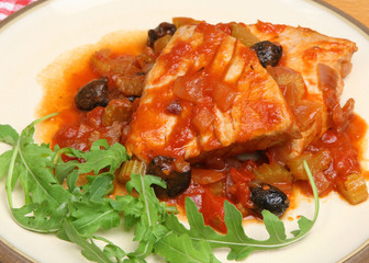 Italian Tuna Steaks Poached in Tomato and White Wine Sauce.