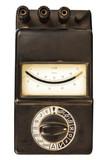 Vintage black volt meter isolated on white poster