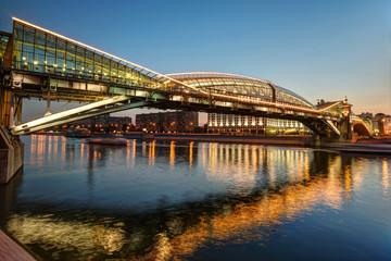 Bogdan Khmelnitsky bridge at night in Moscow
