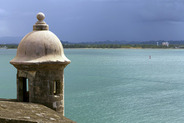 Watch tower in El Morro castle at old San Juan, Puerto Rico.