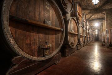 Wine casks inside a wine cellar in Mendoza, Argentina