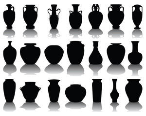 Silhouettes of the vases and jars, vector illustration
