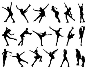 Silhouettes of figure skaters, vector illustration