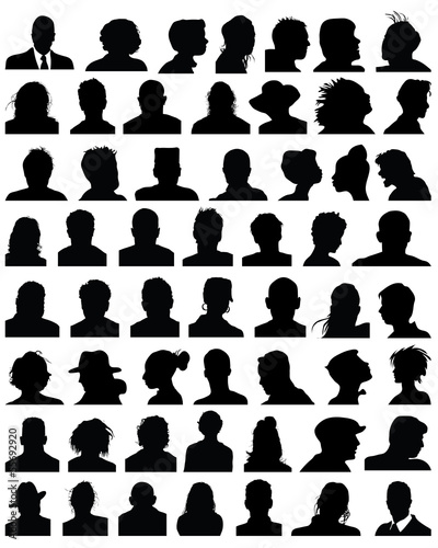 Silhouettes of human heads, vector
