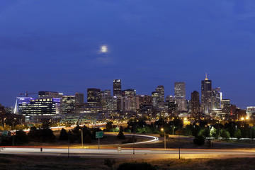 Denver Skyline at Night, Colorado