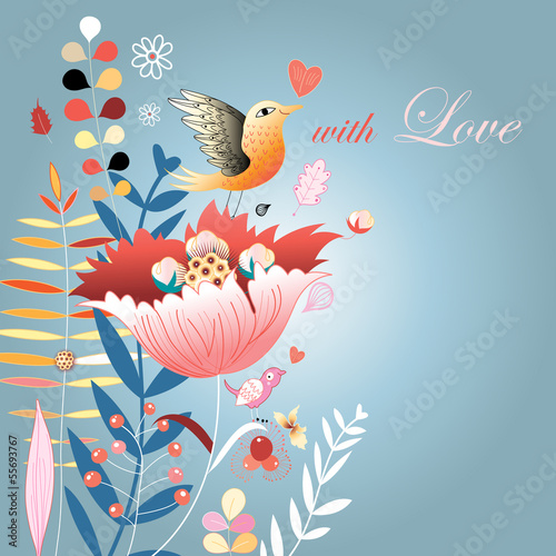 Autumn floral background with birds