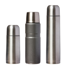 three metal thermoses isolated