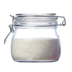 semolina in glass jar isolated