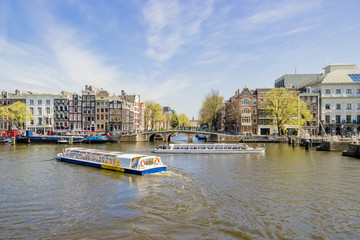 View on houseboats, Amsterdam, the Netherlands