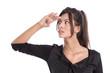 Businesswoman blickt in die Zukunft - Gesicht isoliert