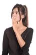 Frau schön erstaunt mit Hand vor dem Mund - Portrait