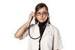 frowning doctor holding a stethoscope and listens to her thought