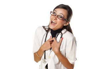 very happy woman doctor with a stethoscope around her neck