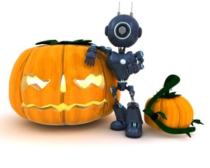 Android with holiday jack-o-lantern