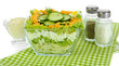 Delicious salad with eggs, cabbage and cucumbers, isolated