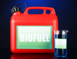 Bio fuels in canister and vial on blue background