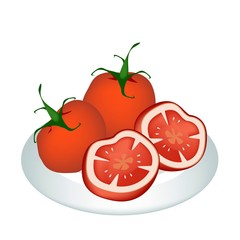 A Plate of Delicious Fresh Red Tomatoes