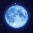 Full blue moon with star at dark night sky - 55699707
