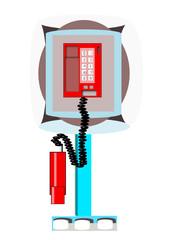 Teléfono descolgado en cabina telefónica