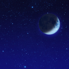 half blue moon or crescent moon with star at dark night sky