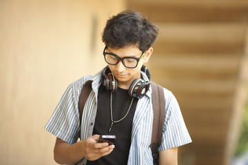 College student  with mobile phone