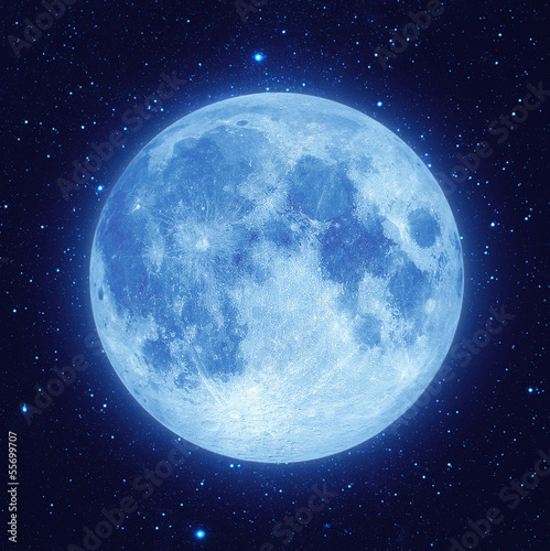 Full blue moon with star at dark night sky