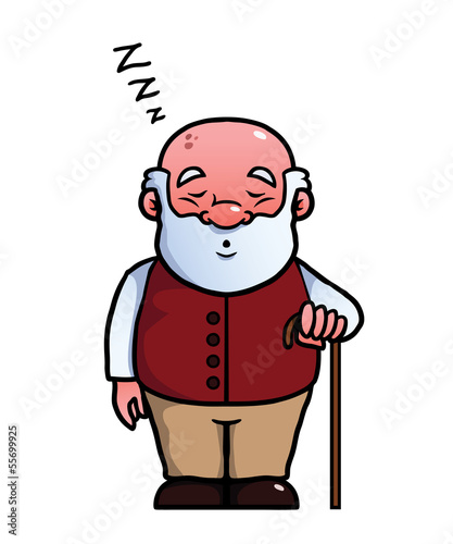 Old man sleeping and snoring with a cane in his hand.