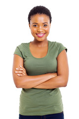 cute african woman with arms folded