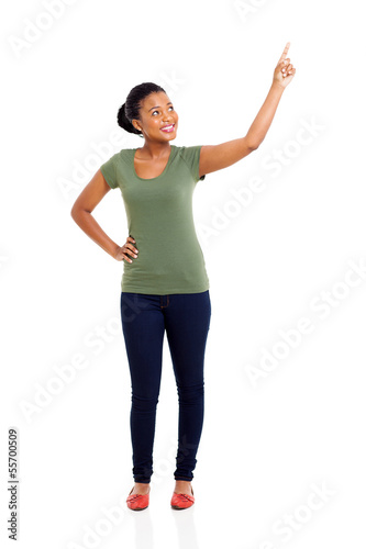 young african woman pointing up