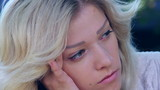 Extreme close up of sad depressed young beautiful woman