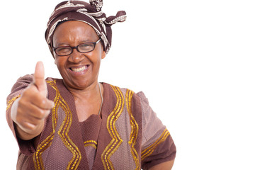 mature african woman with happy smile giving thumbs up