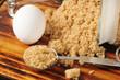 Cooking ingredients, brown sugar and eggs