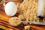 Cooking ingredients, brown sugar and eggs