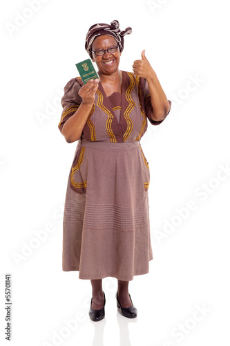 south african mature woman holding ID book