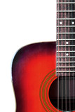 red steel string acoustic guitar