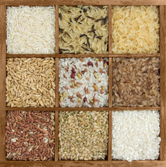 Assorted rice in a wooden box