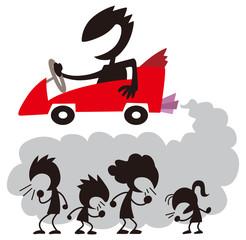 車の排気ガスに苦しむ人たち